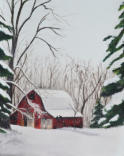 Red Barn  Soft Pastel  18x24   SOLD