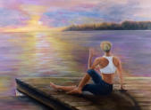 Sunset Yoga  Oil  18x24  Commissioned Piece