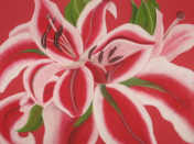 "Red Lilies         Soft Pastel	30""40"""