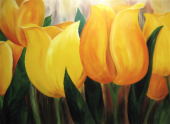 "Yellow Tulips      Acrylic 48""x72"" Commissioned Piece SOLD"